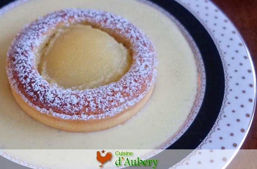La Tartelette Poire Amande (dessert à l'assiette) de Lenôtre