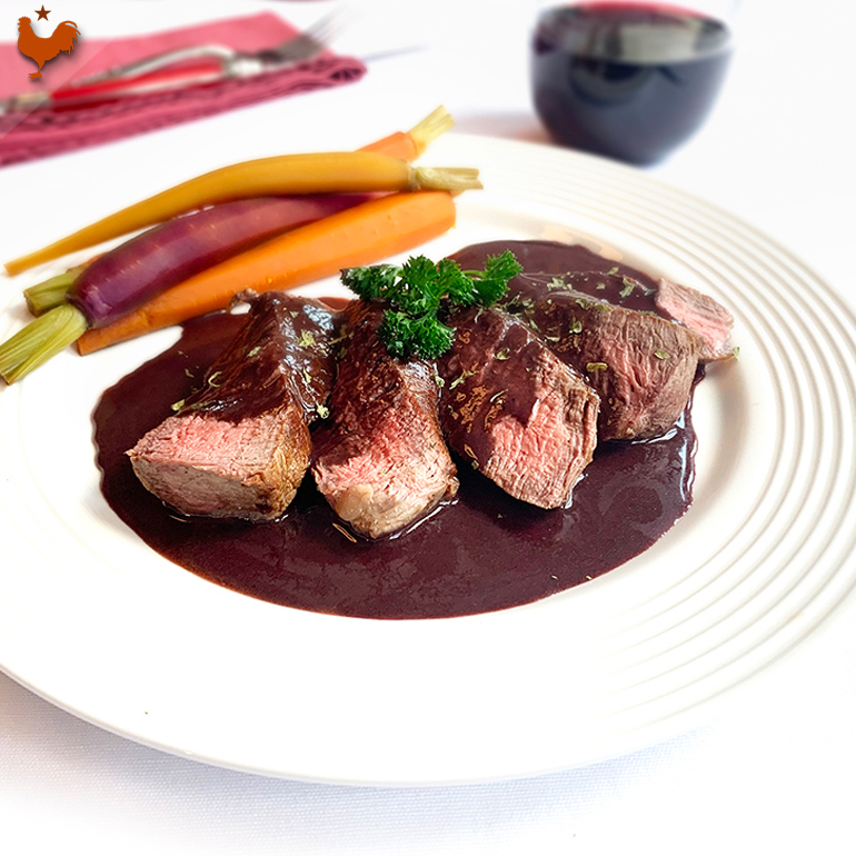 Beef Tenderloin with Bordelaise Sauce, Escoffier styled etouffée Carrots