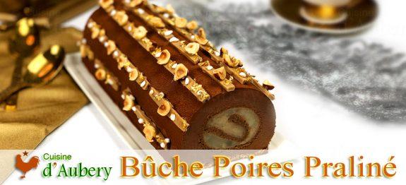 La Bûche Poires Flambées et Mousse Chocolat Noisette